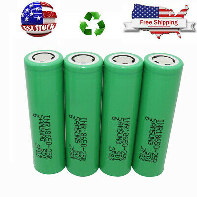 4X Samsung 18650 25R 2500mAh  High Drain Rechargeable Battery For Power Bank Mod