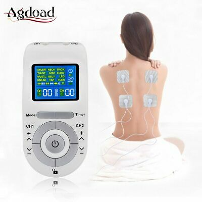 Tens Machine Unit with 4 Electrode Pads for Pain Relief Pulse Massage EMS Muscle