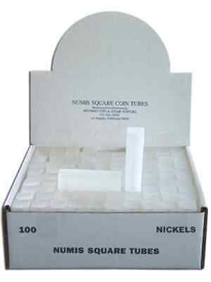 Nickel Square Coin Tube Storage, Numis Brand, 21.2mm, 100 pack