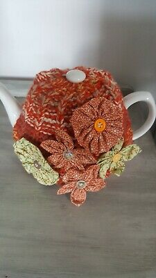Tea Cosy Hand Knitted Embellished With Hand Crafted Flowers