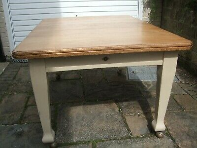 Antique Shabby Chic Early 1900s Arts and Crafts Solid Oak Wind Out Dining Table