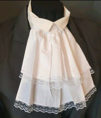 White Cotton & Lace Jabot Cravat Neck Frill Victorian Steampunk Pirate Theatre