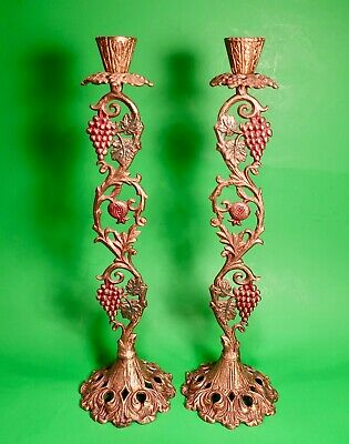 "Very Old A Pair Judaic Candlesticks Solid Brass Made In Israel 13"" Tall"