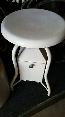 Vintage Heavy Industrial Hospital Medical Metal Stool Chair Vanity Desk Dentist