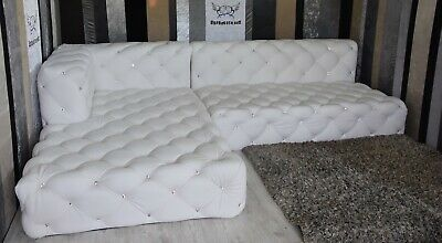 Chesterfield Corner Sofa - White Colour  - other colours! (Chaise lounge)