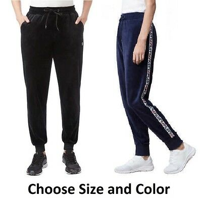 Fila Women's Dolly Velour Track Jogger Pants, Black / Navy, Pick Your Size Color