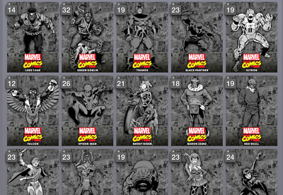 Topps Marvel Collect Card Trader Classic Box Base Series 2 Black & White Set 18