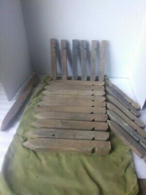 Large Lot Of Antique Wooden Tent Stakes In Military Bag