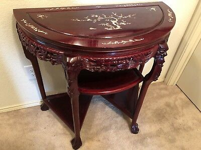 Vtg Chinese Rosewood Carved Mother Of Pearl Half Moon Table with Claw Feet