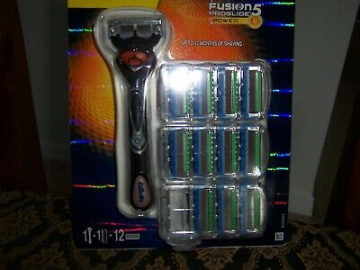 Gillette Fusion5 Proglide Flexball Power Razor with Plus 12 Blades,Battery ,New