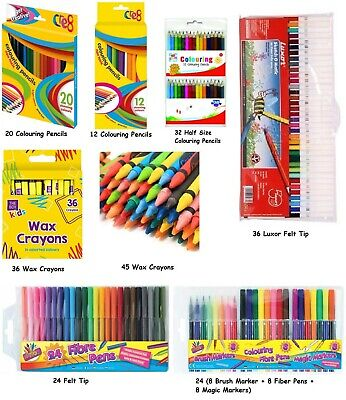 Colouring Pencils Markers Felt Tips Wax Crayons School Stationery Tip Art Assort