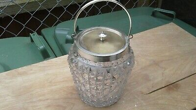 Vintage pressed glass tobacco jar or humidor with silver plate lid.