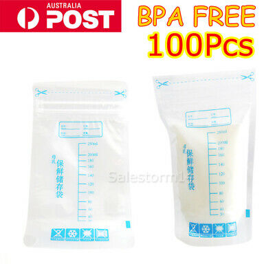 100pcs 250ML Pre-Sterilised Breastmilk Baby Breast Milk Storage Bags Pouches NEW