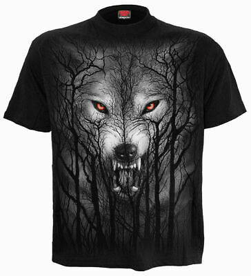 Spiral Direct FOREST WOLF Mens, Rock/Biker/Goth/Moon, T-Shirt, Tee, Clothing