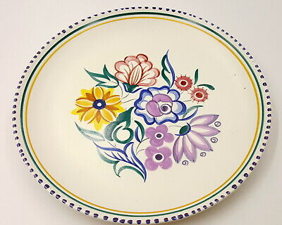 Vintage Poole Pottery large plate, signed.