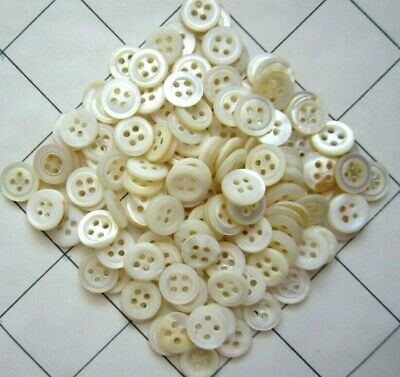 """120 Antique Vintage Pearl Shell Buttons 4-hole Sew Through Approximately 7/16"""""""