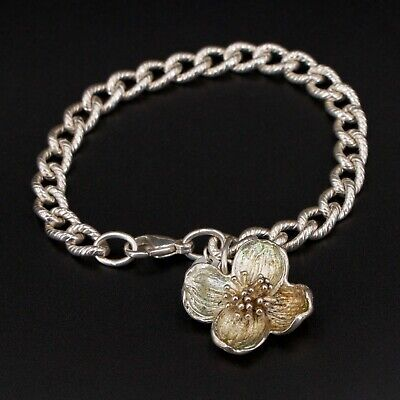 """Sterling Silver - Tiffany & Co. Hibiscus Flower Charm 7"""" Chain Bracelet - 26.5g"""