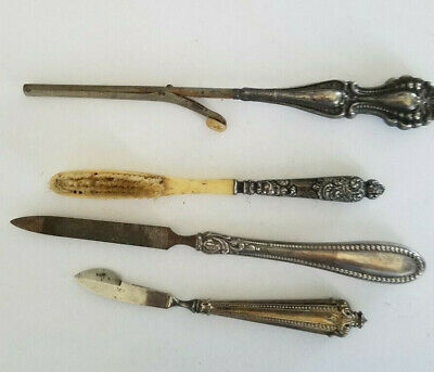 4 Antique Victorian Sterling Silver Repousse Group,mustache,file,brush,knife