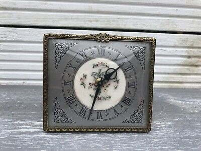 Antique Square Dressing Table Petit Point Embroidery Vintage Clock Brass Mantel