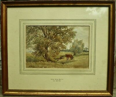 William Holmes May framed antique 19th century signed pastoral watercolour + cow