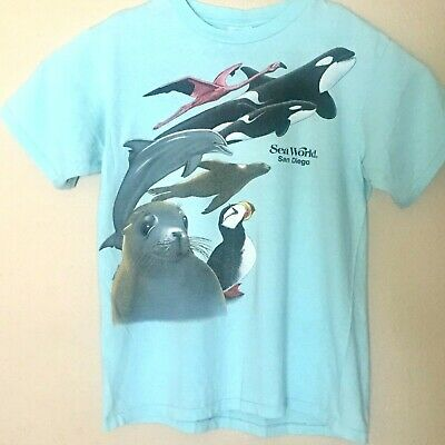Vintage Sea World Shamu Unisex T-Shirt Sz Large Blue San Diego Single Stitched