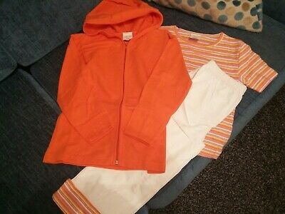 Girls Age 4-5 Yrs Track Suit Orange And White.      Jacket, Pants and T- shirt