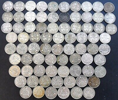 George V Silver 3d's x 77 coins 1920-1936 Threepence 3d