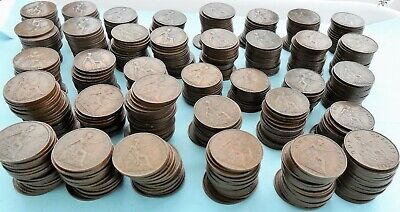 620 PENNY coins Pennies 1d bulk lot collection King George V 1911-1936