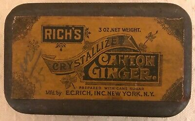 Vintage Antique Spice Tin Rich's Crystallized Canton Ginger E C Rich NY Paper
