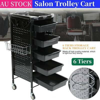 Home& Salon Spa Hairdressing Tools Storage Rolling Trolley Cart Caster 6 Drawers