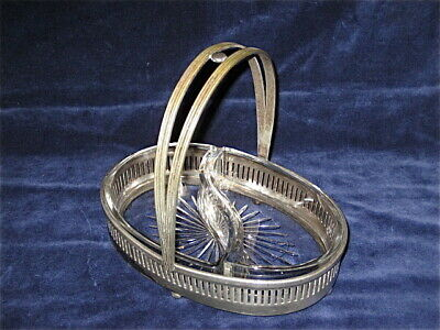 Silver Plate Crystal Antique Meriden 2 section tidbit/olive dish/basket