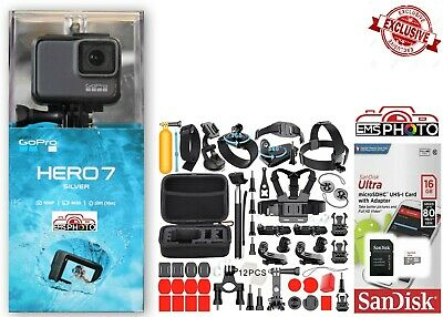 NEW GoPro HERO7 SILVER HD Waterproof camera with 50 Sports Accessories CHDHC-601