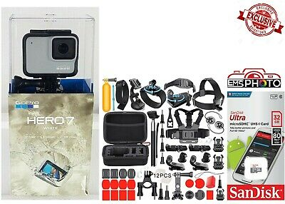 GoPro HERO7 White Touch Screen HD Video 10MP Sports accessories 32GB Kit