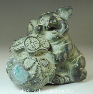 china old handmade bronze hand engraving pig antique statue /qianlong mark Be01A