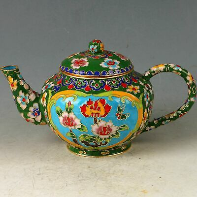 Chinese Cloisonne Handwork Carved Flower Teapot CC0839