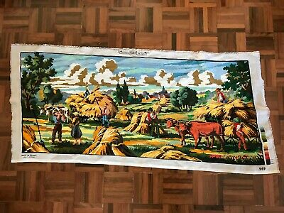 Finished Margot de Paris large tapestry country farm farmers hay cows field