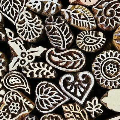Wood pottery Stamps Set -50 pattern Textile Clay candle holzstempel indische