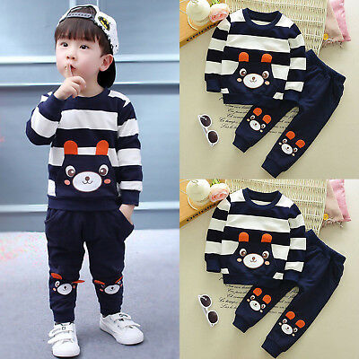Toddler Baby Boy Cartoon Clothes Long Sleeve Tops + Pants Outfit Set Tracksuit