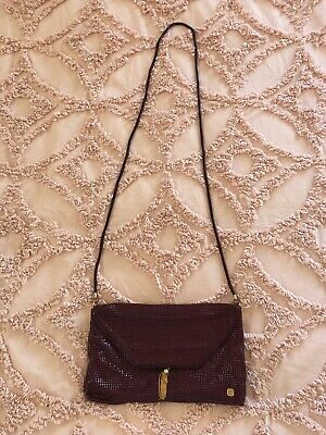 Vintage Glomesh Maroon Evening Purse with Chain Long Strap