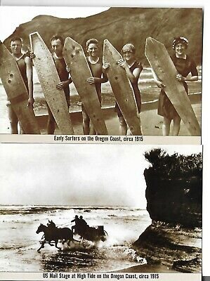 Early Surfers & Mail Stage on the Oregon Coast postcards NEW postcards