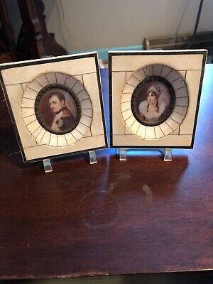 Wonderful Antique Pair Painted Miniatures Of Napoleon And Josephine Estate