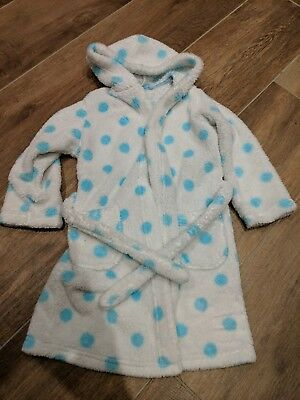 M&S WHITE (Spotty) GIRLS DRESSING GOWN 4-5 YEARS (Marks & Spencer)