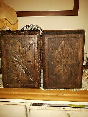PAIR OF Antique; Vintage: Arts abd Crafts Handmade small footstools: Handcarved