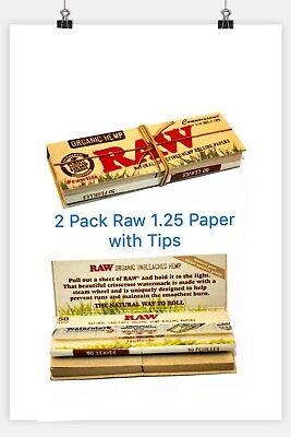 2 X Raw Organic 1.25 Rolling Papers With Tips Smoking Tobacco