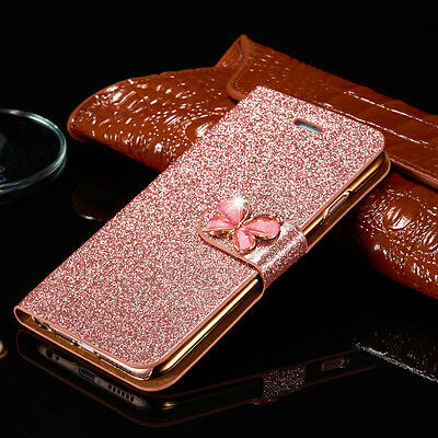 Bling Glitter Flip Wallet Case for iPhone 5s 6s 7 Plus 8 Xs Max Leather Cover