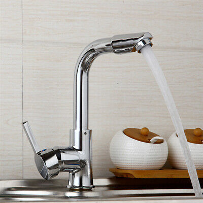 US Chrome 1 Handle Bathroom/Kitchen Basin Swivel Faucet Hot/Cold Water Mixer Tap