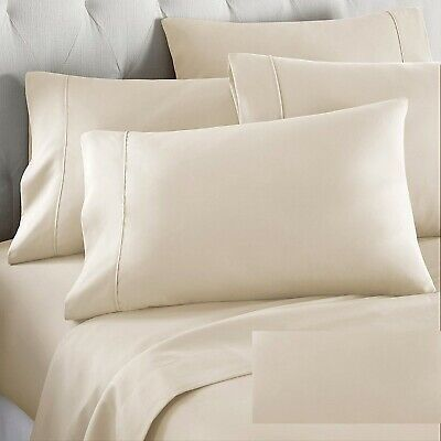 100% Cotton Percale Sheet Sets 800 Thread Count 6 Piece Set Ivory Solid