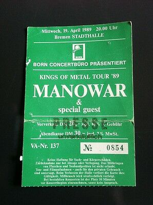 MANOWAR Orginal Ticket 1989 Germany - Kings of Metal Tour ´89