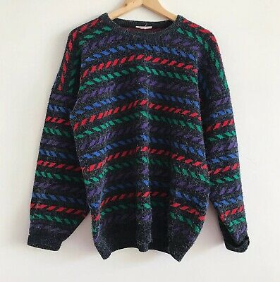 Vintage 80s 90s Grey Red Green Purple Blue Fuzzy Knit Jumper Sweater Cosby
