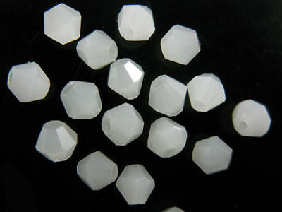 Bulk 50pcs Jade White Glass Crystal Faceted Bicone Beads 6mm Spacer Findings